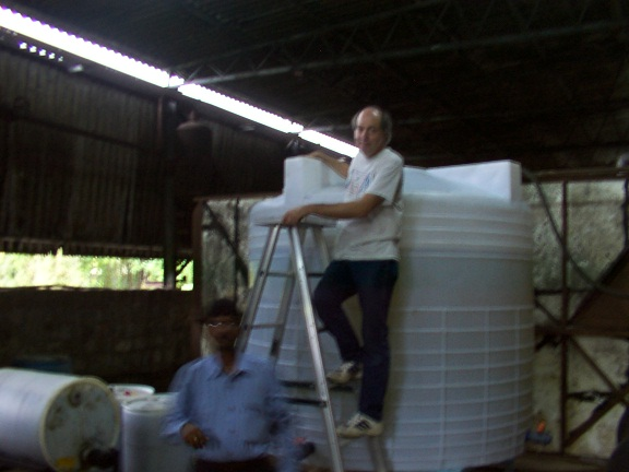 Vinny at a large brewing vat at a client site in southern India.